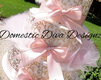 Princess Diaper Cake - Light Pink Satin & Gold Damask Princess Crown Baby Girl Baby Shower Elegant Diaper Cake Centerpiece