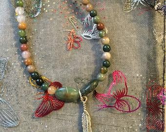 Green Jasper Feather Bracelet