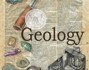 PRINT:  Geology Mixed Media Drawing on Antique Dictionary