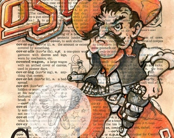 PRINT:  Oklahoma State University Drawing on Antique Dictionary
