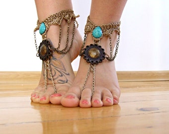 Turquoise boho BAREFOOT sandles barefoot sandal victorian barefoot GYPSY SUMMER sexy anklet jewelry foot thongs bottomless shoes
