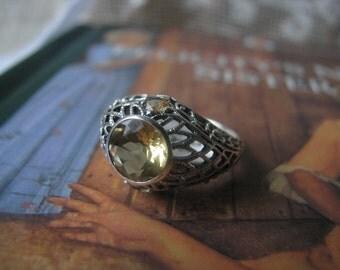 SUMMER SALE! Vintage Sterling Silver n Citrine Edwardian Style Filigree Milgrain Ring