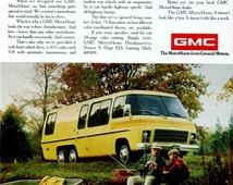 1974 GMC MotorHome Ad, Grandpa Grandson Fishing Boat, General Motors, RV, Retirement