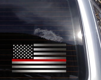 American Flag with Thin Red Line Vinyl Decal - fits laptops, cars, windows & more, transfer sticker K650