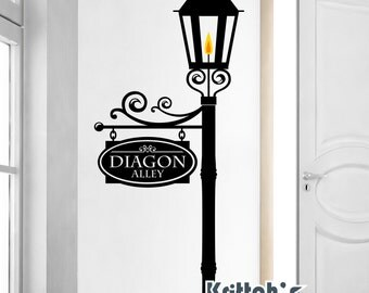 Custom Street Sign on a Gas Lamp Post Vinyl Wall Decal (add a note with your 2 word sign name: family name, street name, anything else) K584