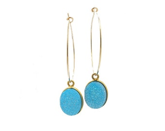 Gold Hoop Earrings, Blue Druzy Earrings, Druzy Stone Earrings, Gemstone Hoop Earrings