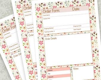 Order Form - A4 PDF file - Instant Download - Organization - Business - Planner - Printable -