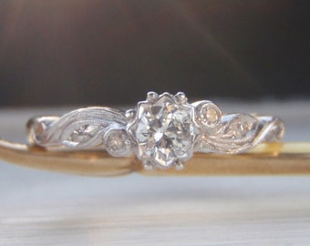 Classic Vintage Diamond Engagement Ring. Quality 18K White & Yellow Gold. Sweet Organic Flowing Design Shoulders With Accent Diamonds