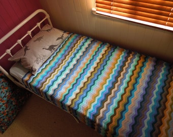 Crochet Single Bed Ripple Blanket  or Throw. Hand Made.