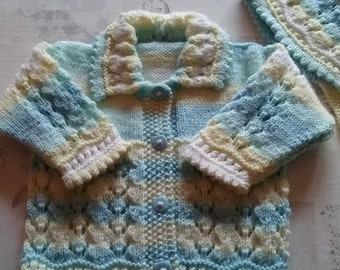 Dainty hand knitted  lemon baby girl jacket/sweater with matching bonnet/ 3-9 months/Ready to Ship