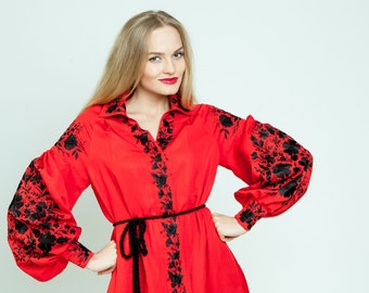 "Red emroidered dress ""Colour contrast"" ukrainian hand embroidery"