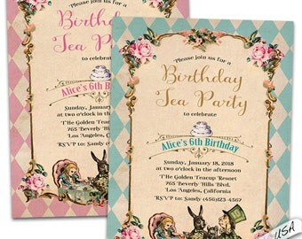 Wonderland birthday invitation. Alice and wonderland bridal shower invitations. Wonderland Birthday party invitation.