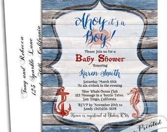 Nautical baby shower invitation boy, Nautical boy baby shower-Nautical invitation-Nautical invites-Nautical invitation baby shower-Custom