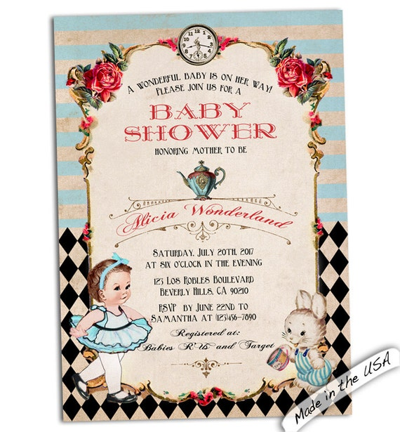 baby shower invitation baby alice invitation wonderland baby shower