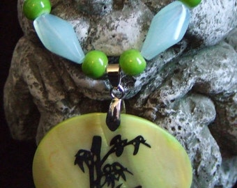 Green and Blue beaded bamboo pendant necklace