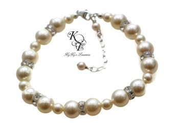 Pearl Bridal Bracelet, Wedding Bracelet, Bridesmaid Bracelet, Prom Jewelry, Prom Bracelet, Bridal Bracelet, Bridal Jewelry, Pearl Bracelet