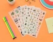 Korean Lovely Sticker Set - Transparent Sticker - Cell Phone Sticker - Diary Sticker - Filofax - 5 Sheets in