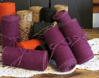"Plum Burlap Ribbon, 5"" Wide Plum Ribbon with Gold Mettallic, Halloween Burlap, Plum Burlap Ribbon, Plum Ribbon, Halloween Ribbon, Fall Decor"