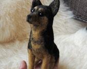 Needle Felted German Shepherd, Needle Felted Dog, Handmade Animal, Felted Dog Sculpture