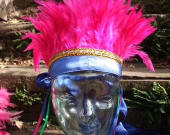 Pink and Blue carnival feather headdress