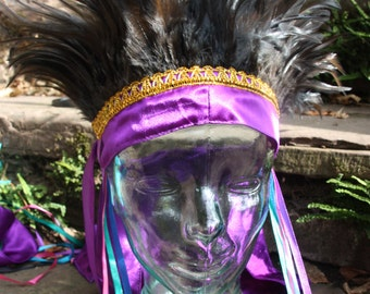 Purple and black carnival feather headdress
