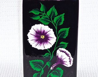 Black Vase Hand Painted With Purple and White Flowers, Gifts For Mom, Teacher Gift, Pencil Holder, Brush Holder, Gifts For Her