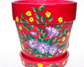 Flowerpot Hand Painted Pink Pot With Purple and Yellow Flowers, Spring Flowers, Unique Gifts, Housewarming Gift, Home Decor, Garden Decor