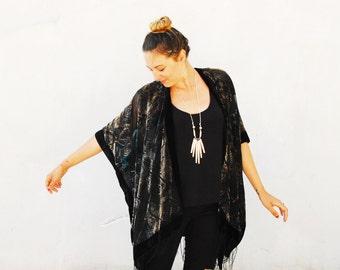 Velvet Kimono: Black, Taupe and Green Gypsy Fortune Teller Paisley Velvet Burnout Fringe Kimono Cover Up