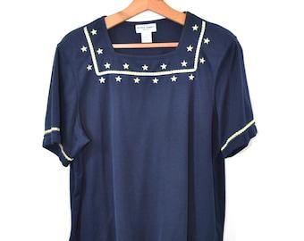 Vintage T Shirt Nautical Shirt Blue Shirt Patriotic Shirt Gold Stars T Shirt Women's Blue Shirt Captain Shirt Size Large