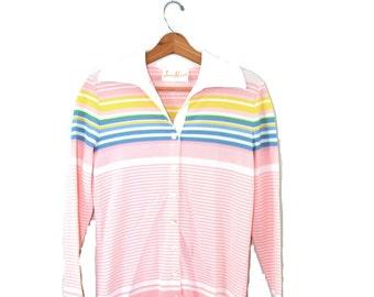 Vintage Striped Shirt Tennis Shirt Pink Shirt 1950s Long Sleeve Shirt Women's Tennis Shirt Striped Tennis Shirt James Kenrob 50s Size Small