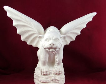 Ceramic ready to Paint JUMBO Bulldog Gargoyle -16 inches - hand made, indoor or outdoor, lawn or garden