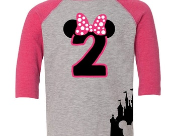 Custom Disney Inspired Minnie Mouse Birthday Shirt Number with Name on Back
