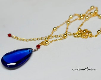 As Is: Howl's Moving Castle Blue Crystal Necklace - Large