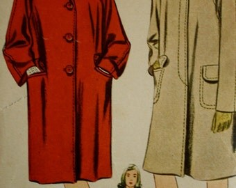Vintage 1940s Chesterfield Coat Sewing Pattern /Simplicity 4780 /Bust 29