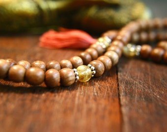 Rutilated Quartz Wooden Gemstone Mala Beads Prayer Beads 108 Mala Beads Japa Mala Meditation Jewelry Silk Tassel Necklace Handmade Mala