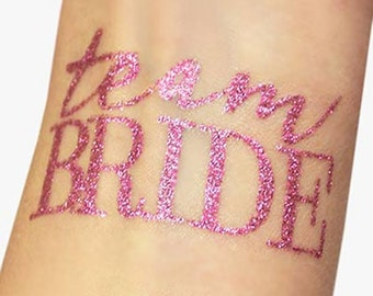 Set of 3 naughty bachelorette tattoos metallic pecker pink for Bachelorette party tattoos