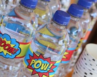 Superhero Water Bottle Labels • PRINTED