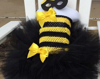 Toddler BEE costume, Honey Bee, Bumble Bee tutu costume, black yellow tutu dress,  bee tutu, Toddler Halloween costume, Toddler bee