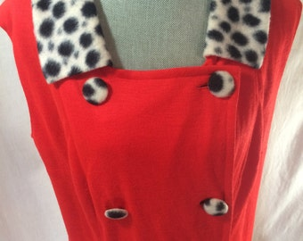 double-breasted dress red sleeveless leopard XL spotted fuzzy buttons collar