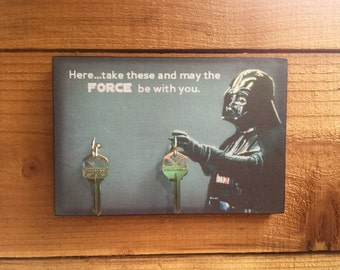 "SALE Key Holder STAR WARS Key Holder & Wood Mounted Wall Art Darth Vader ""Don't Forget These"" Text Add'l Option: ""May the Force Be with You"""