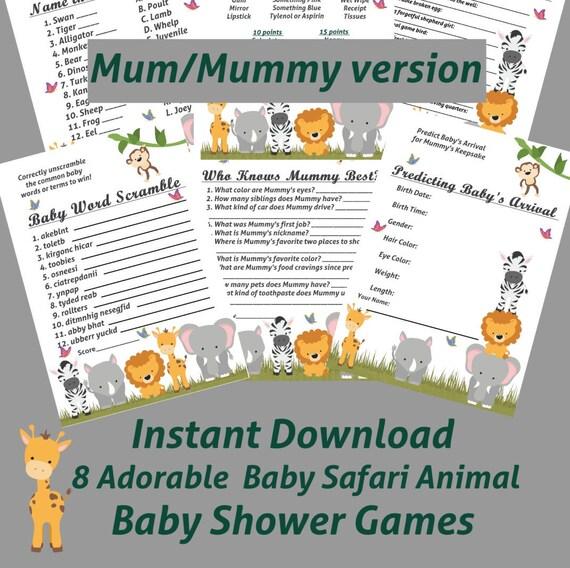 baby safari animal baby shower games with mum mummy zoo baby shower