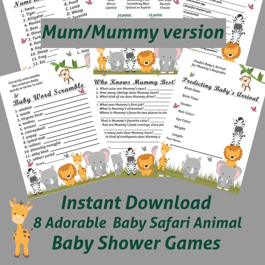 8 Baby Safari Animal Baby Shower Games With Mum/Mummy Zoo
