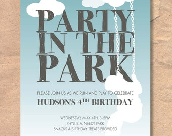 Printable Park Birthday Invitation: Party in the Park / Picnic