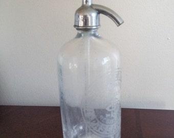 Vintage Clear Glass Seltzer Soda Bottle, The Service Bott. Wks., vintage seltzer bottles, clear seltzer bottle, NJ seltzer