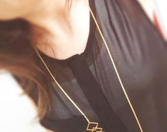 Gold Geometric Necklace - Long and short squares necklace