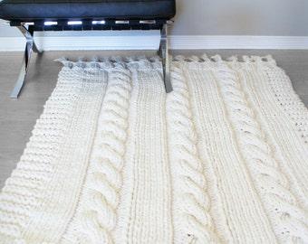 Throw Rug Knitting Patterns : DIY Knitting PATTERN Throw Blanket / Rug Super Chunky Double
