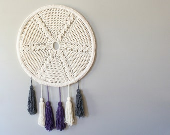 """DIY Crochet PATTERN - Cable Crochet Star and Tassels Wall Hanging  Size: 24"""" diameter (2015023)"""