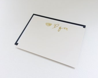 Personal Stationery Thank you Notecards with Envelopes I love you