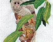 Capuchin Monkey Embroidered Decorative Absorbent White Cotton Flour Sack Towel, Linen Tea Towel, Waffle Towel