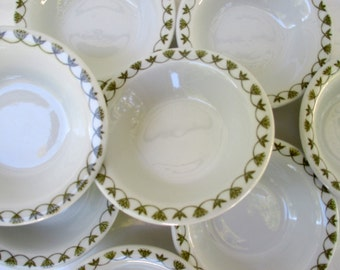 Sterling China Restaurant Ware  - Green Leaf and Flower Pattern - Berry Dessert Sauce Bowls  - Set of 4 (2 sets available)